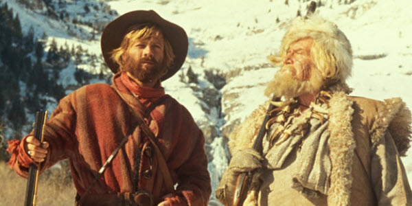 Jeremiah Johnson, played by Robert Redford, and Will Geer as Bear Claw Chris Lapp.